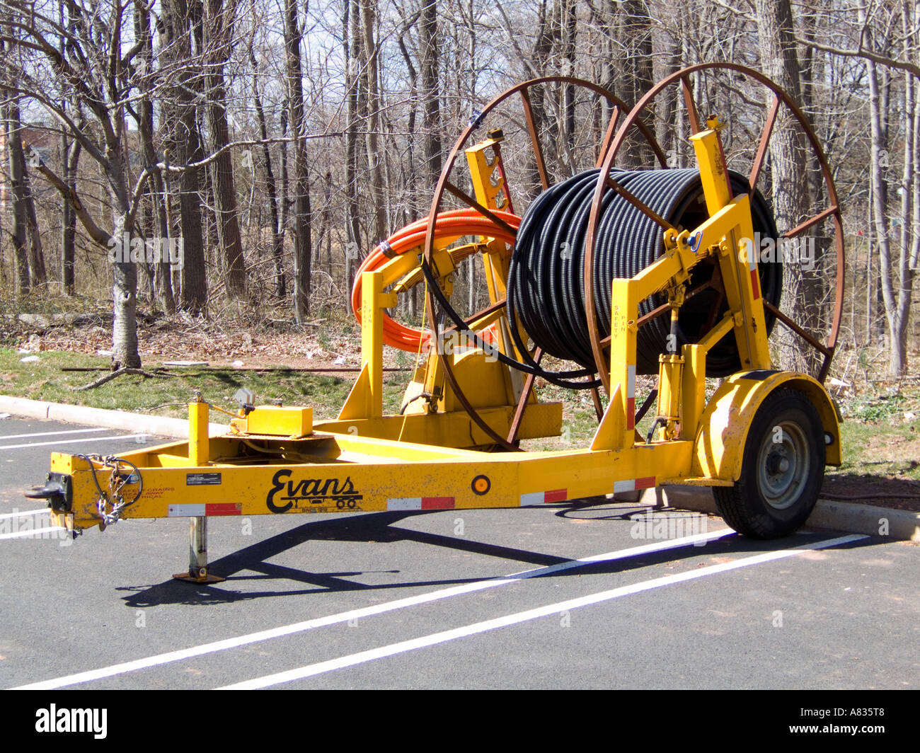 Trailer holding spool for large gauge wire Stock Photo, Royalty ...