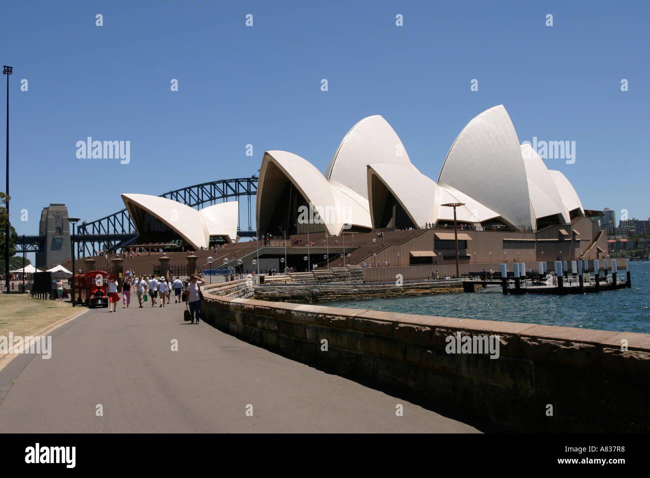 Sydney opera house and harbour bridge - Stock Photo Sydney Opera House On A Beautiful Summers Day With The Sydney Harbour Bridge In The Background
