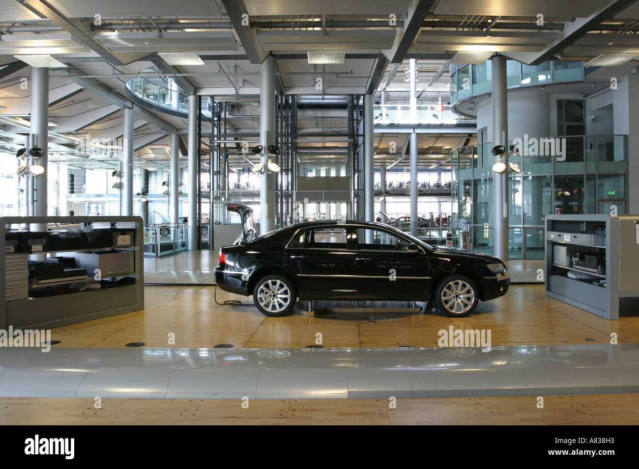 a vw phaeton at volkswagons glass factory in dresden germany stock photo royalty free image. Black Bedroom Furniture Sets. Home Design Ideas