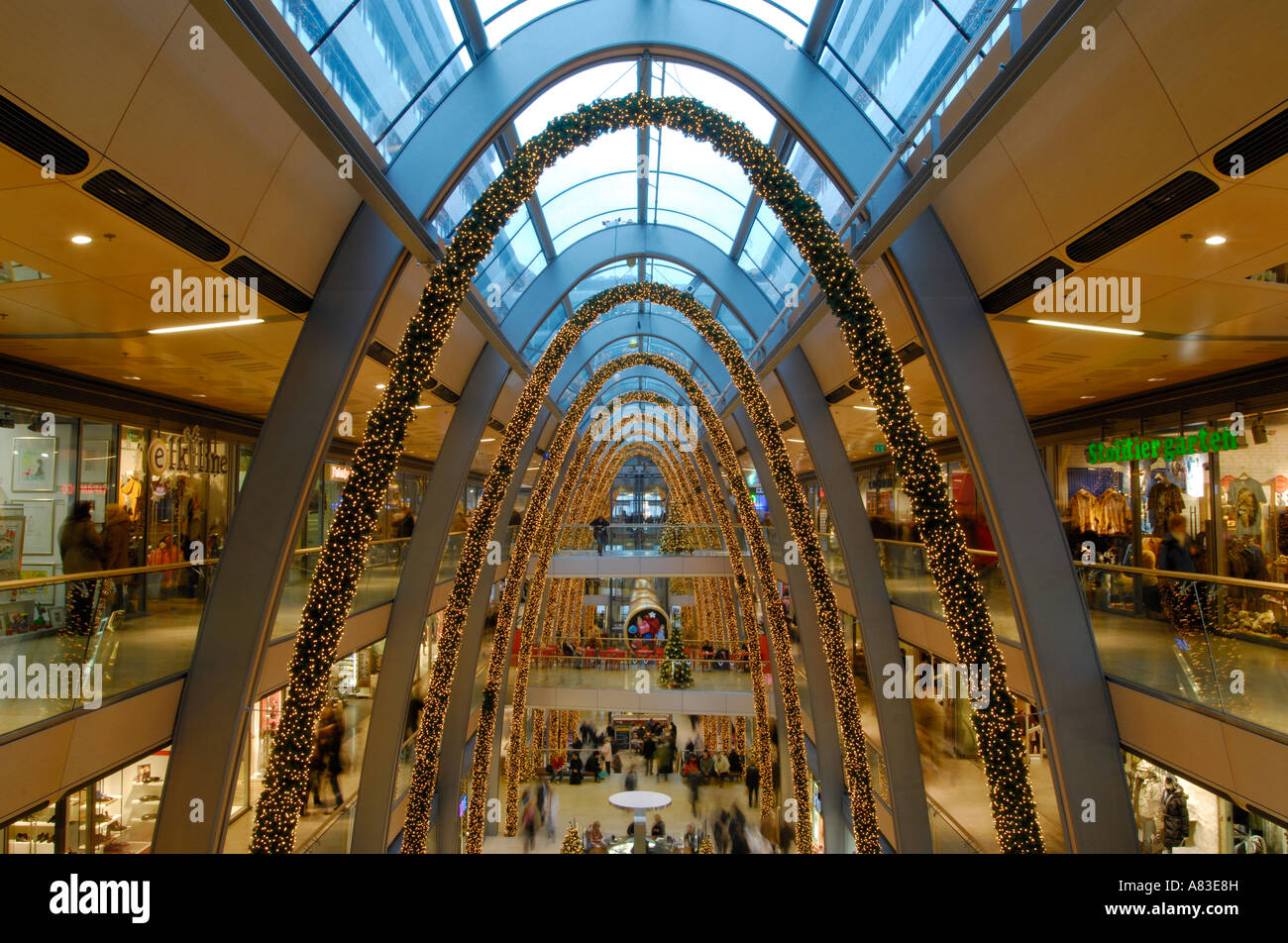 the new shopping mall europa passage while christmas time in hamburg stock photo royalty free. Black Bedroom Furniture Sets. Home Design Ideas