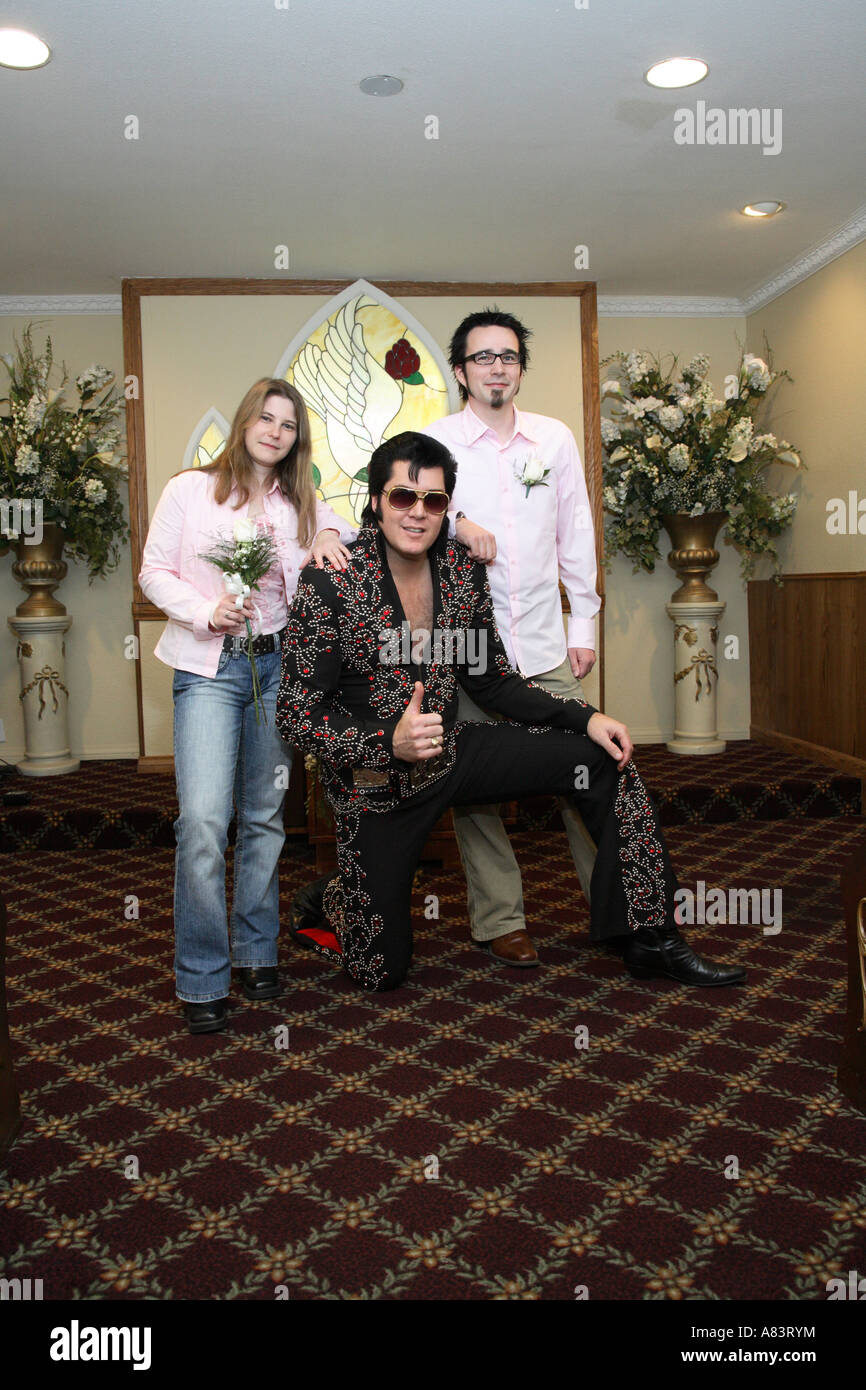 Just Married German Couple With Elvis Double Inside Of