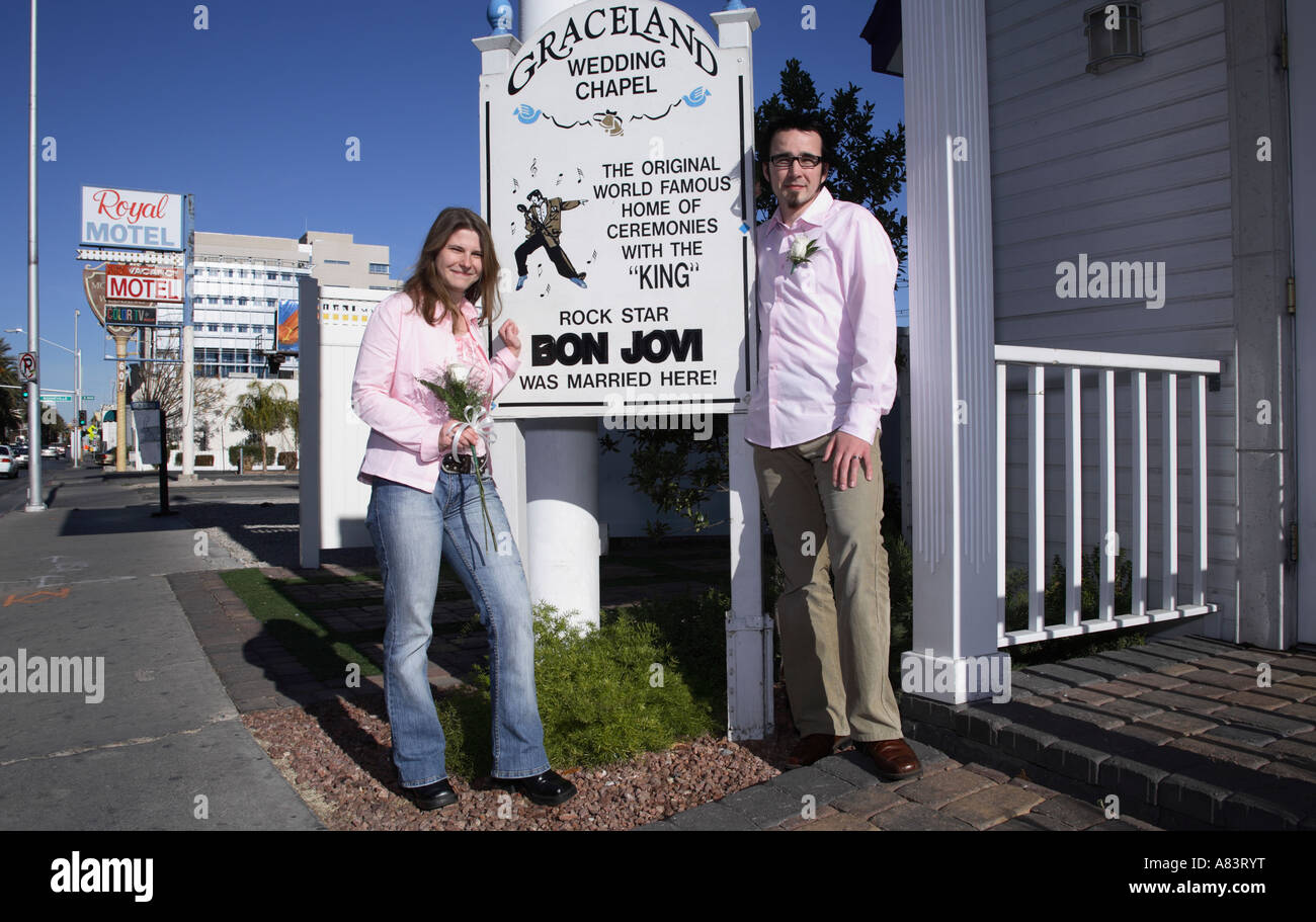 Just Married German Couple Infront Of Graceland Wedding Chapel On 619 Las Vegas Blvd South Nevada Usa