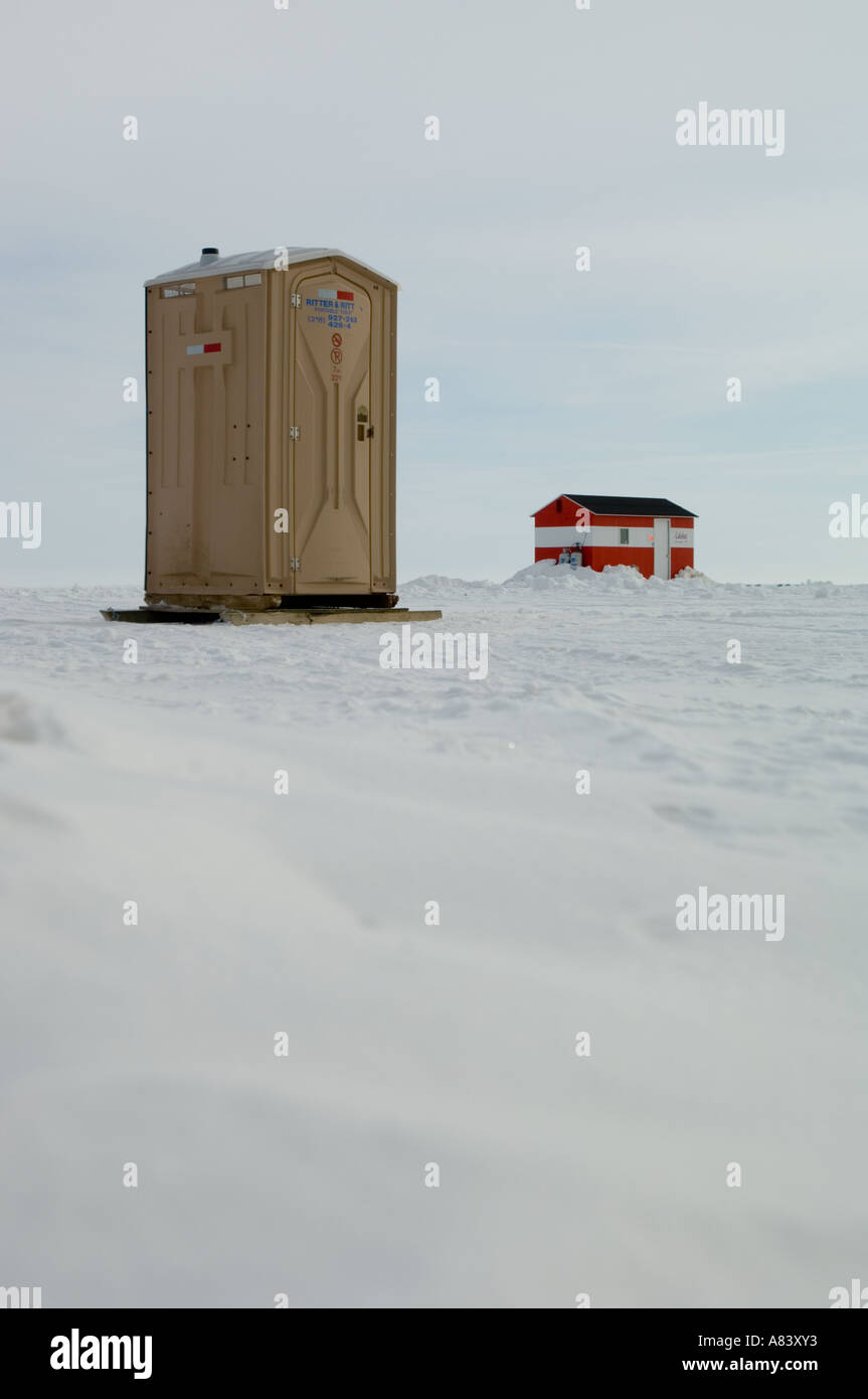 Porta potty and ice fishing house lake mille lacs for Mille lacs ice fishing