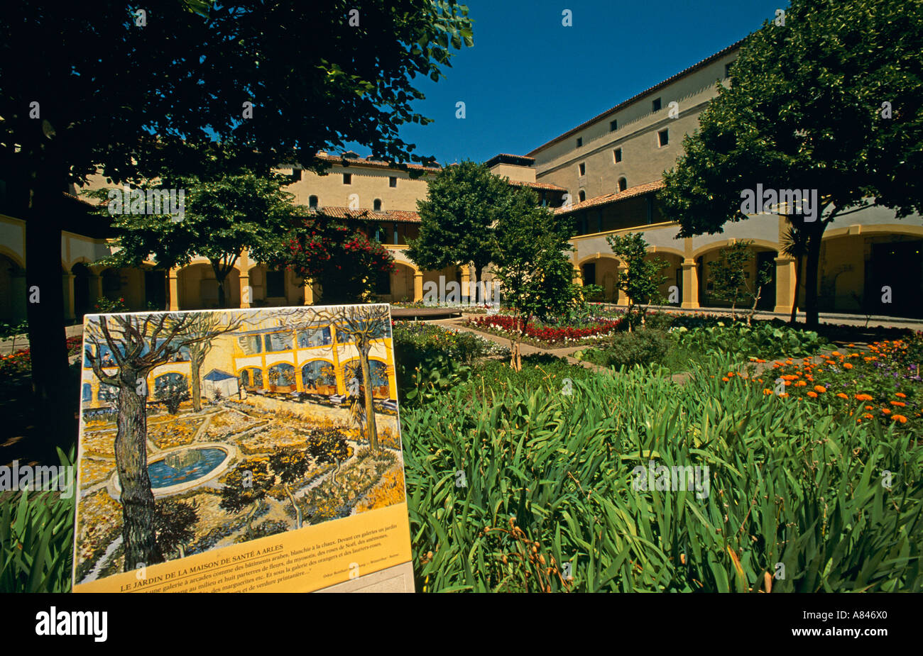 france south provence arles garden of la maison de la sant van stock photo royalty free. Black Bedroom Furniture Sets. Home Design Ideas