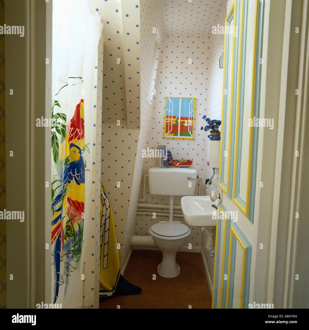 Open door to attic bathroom with toilet and colourful plastic ...
