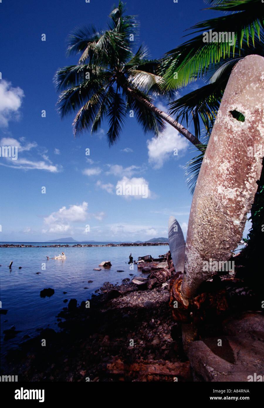Federated states of micronesia truk lagoon param japanese aircraft wreckage stock image