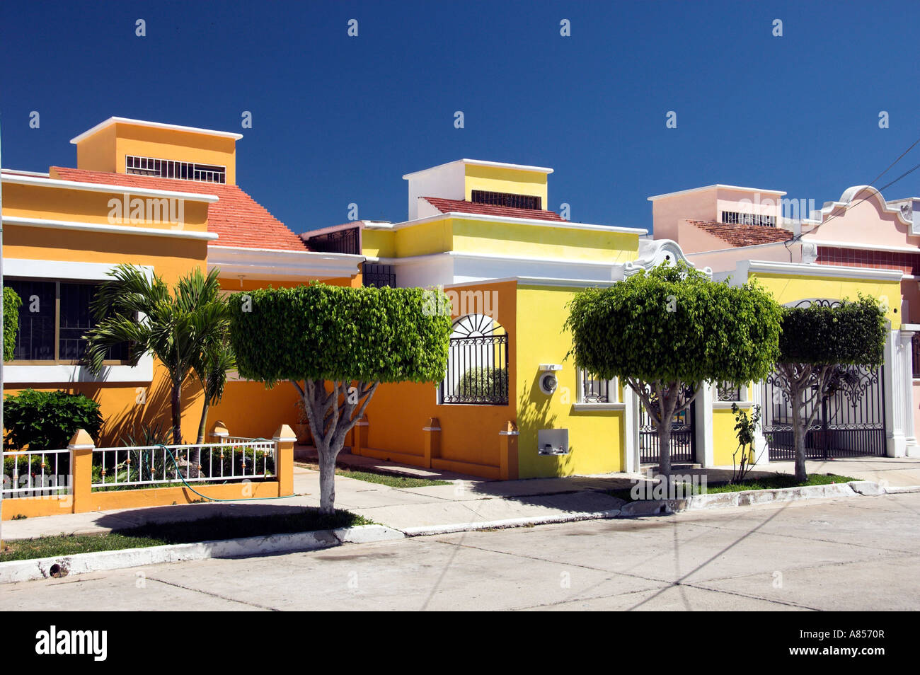 Homes with typical Mexican Spanish design in Mazatlan Mexico Stock ...