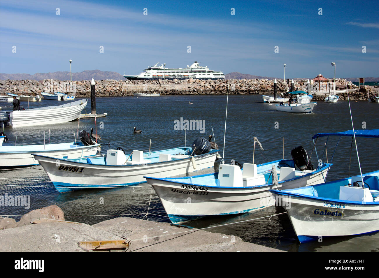 Colorful fishing boats and a cruise ship at the baja sur for Loreto mexico fishing