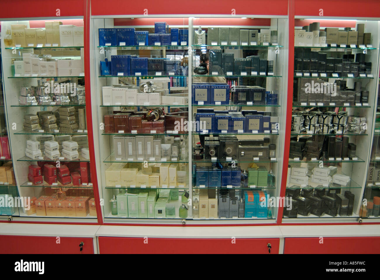 Perfume Display Cabinet In A High Street Cosmetics Shop Stock ...