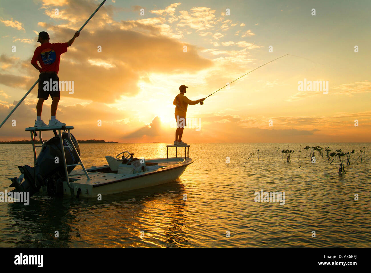 Salt water fly fishing at sunset for bone fish in the for Salt water fly fishing