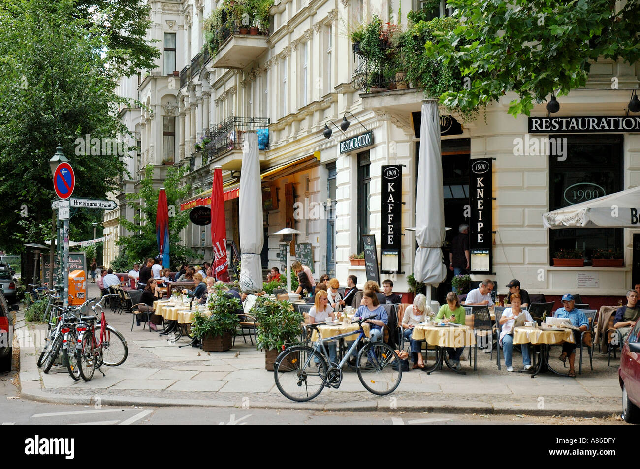 prenzlauer berg is full of restaurants berlin germany stock photo royalty free image 12002894. Black Bedroom Furniture Sets. Home Design Ideas