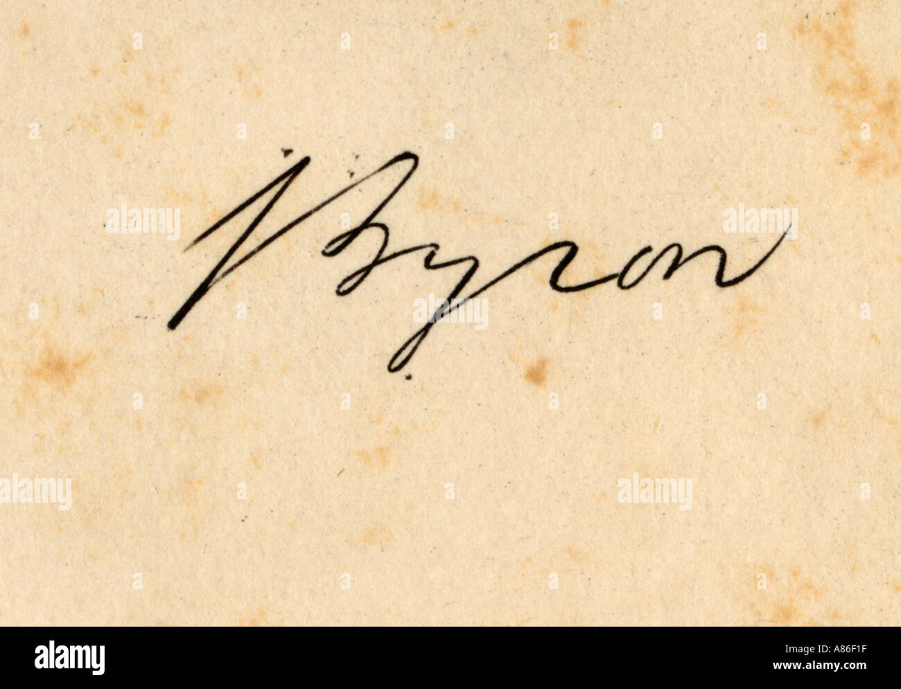 Lord Byron. His Signature. George Gordon, Lord Byron 1788 To Stock ...