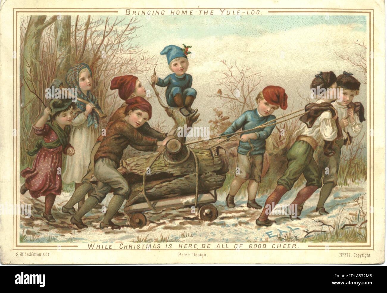 Christmas greeting card circa 1881 by eliza ann lemann titled christmas greeting card circa 1881 by eliza ann lemann titled bringing home the yule log kristyandbryce Choice Image