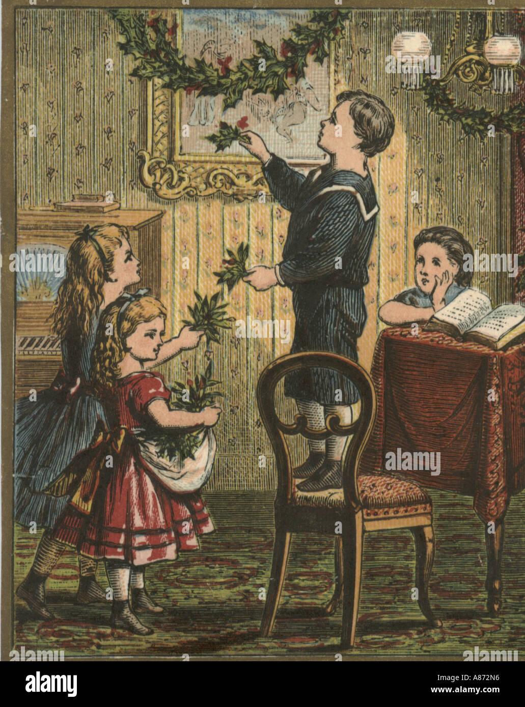 Christmas greeting card circa 1870 stock photo 6862037 alamy christmas greeting card circa 1870 kristyandbryce Choice Image
