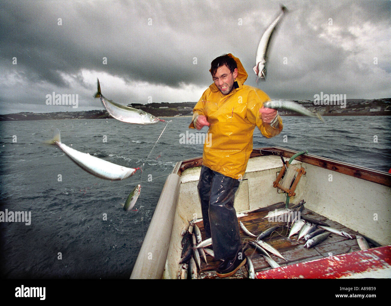 Mackerel fishing by hand line in cornwall stock photo for Hand line fishing
