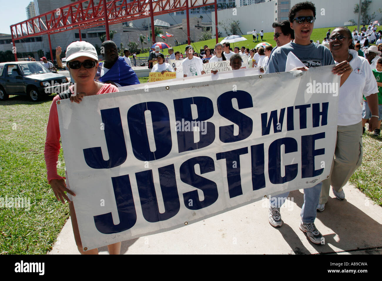 miami florida bayfront park immigrants rights protest hispanic miami florida bayfront park immigrants rights protest hispanic female male banner jobs justice