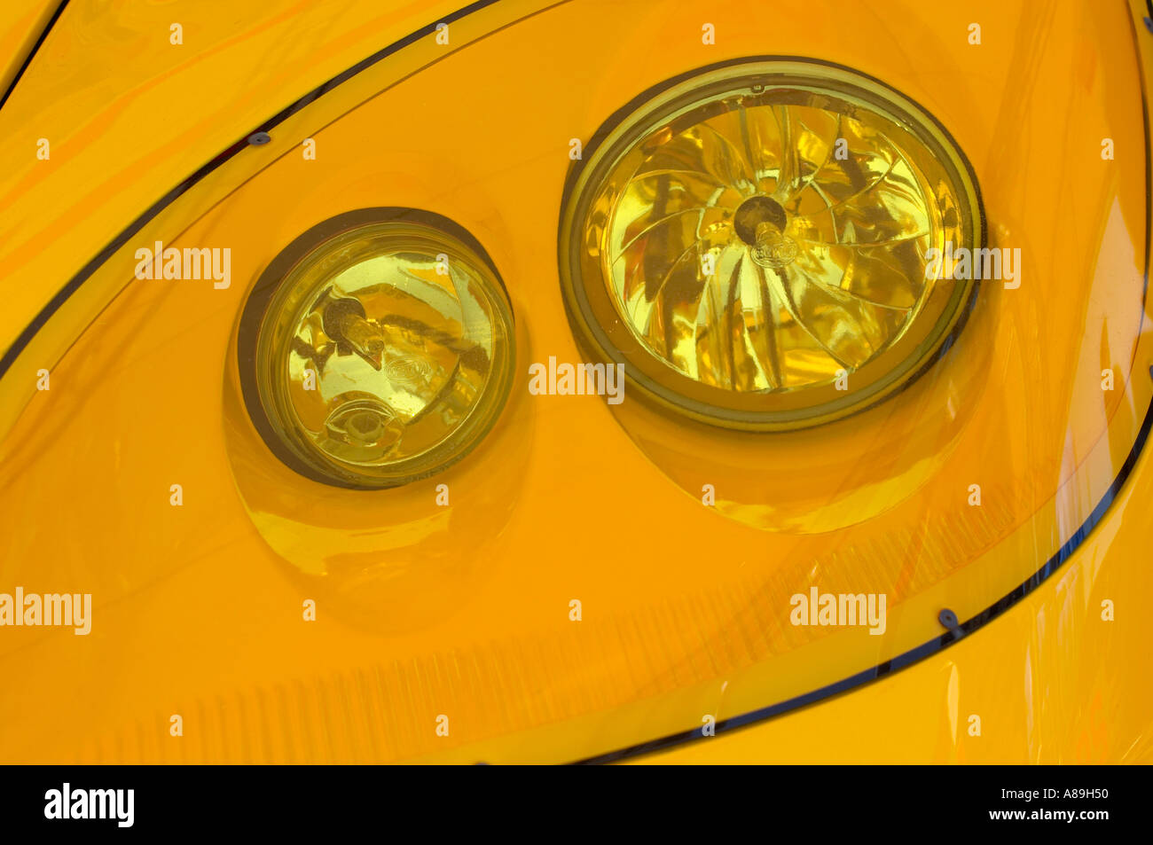Yellow Headlights On Chevrolet Corvette Race Car Stock Photo