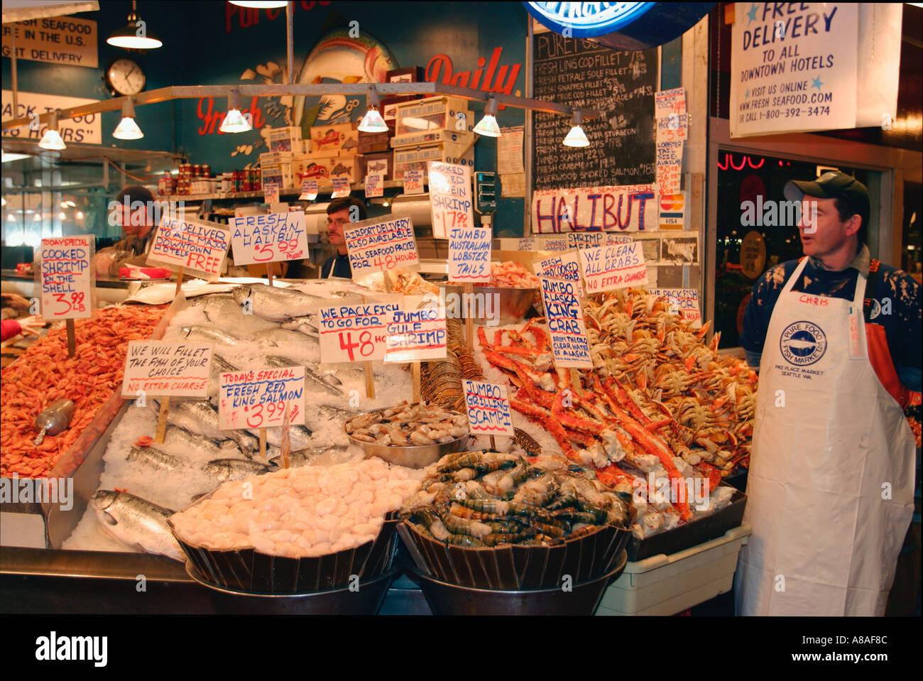 Washington seattle pike place market fishmonger display of for Fish market seattle washington