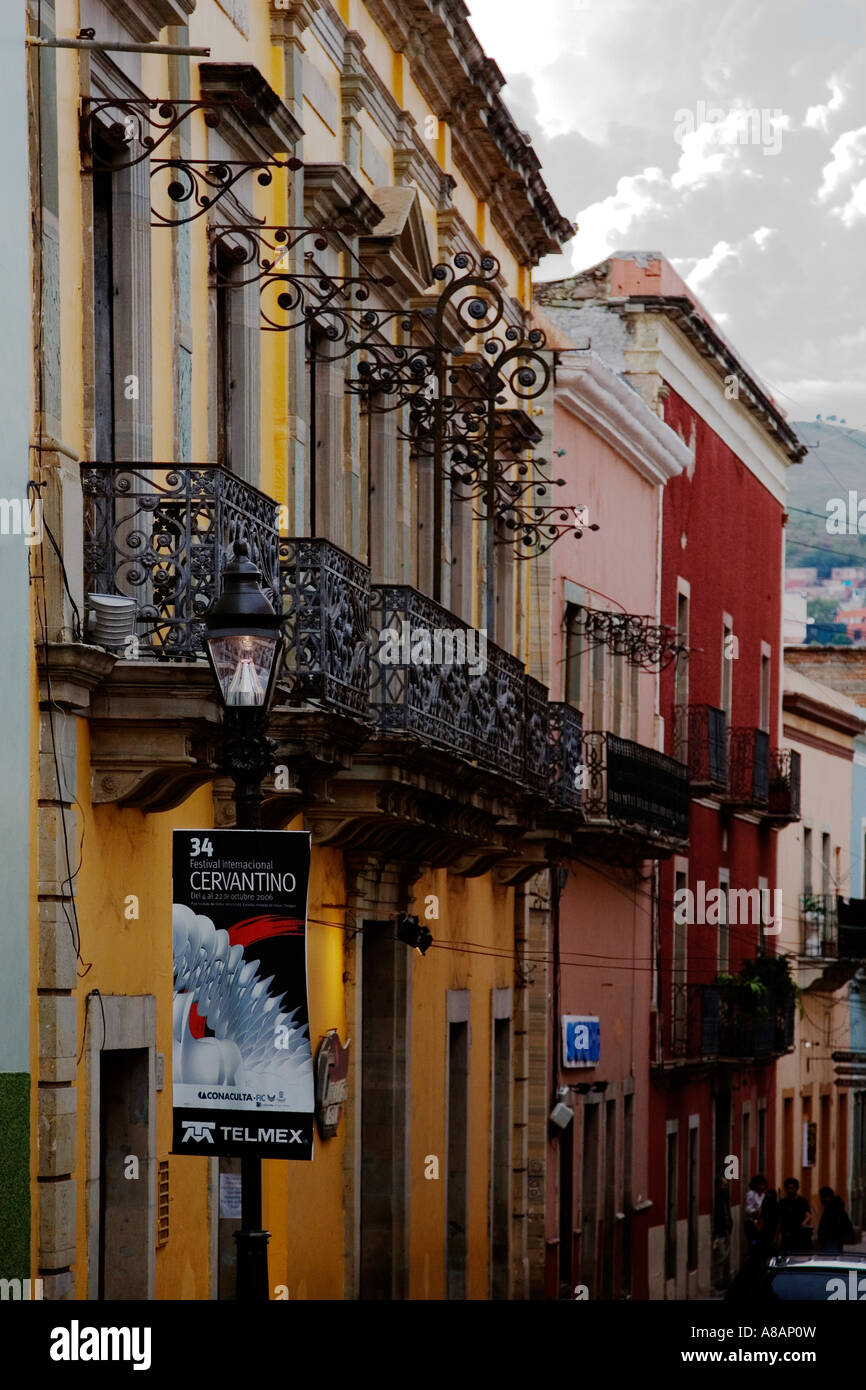 COLONIAL MEXICAN ARCHITECTURE Often Includes WROUGHT IRON BALCONIES GUANAJUATO MEXICO