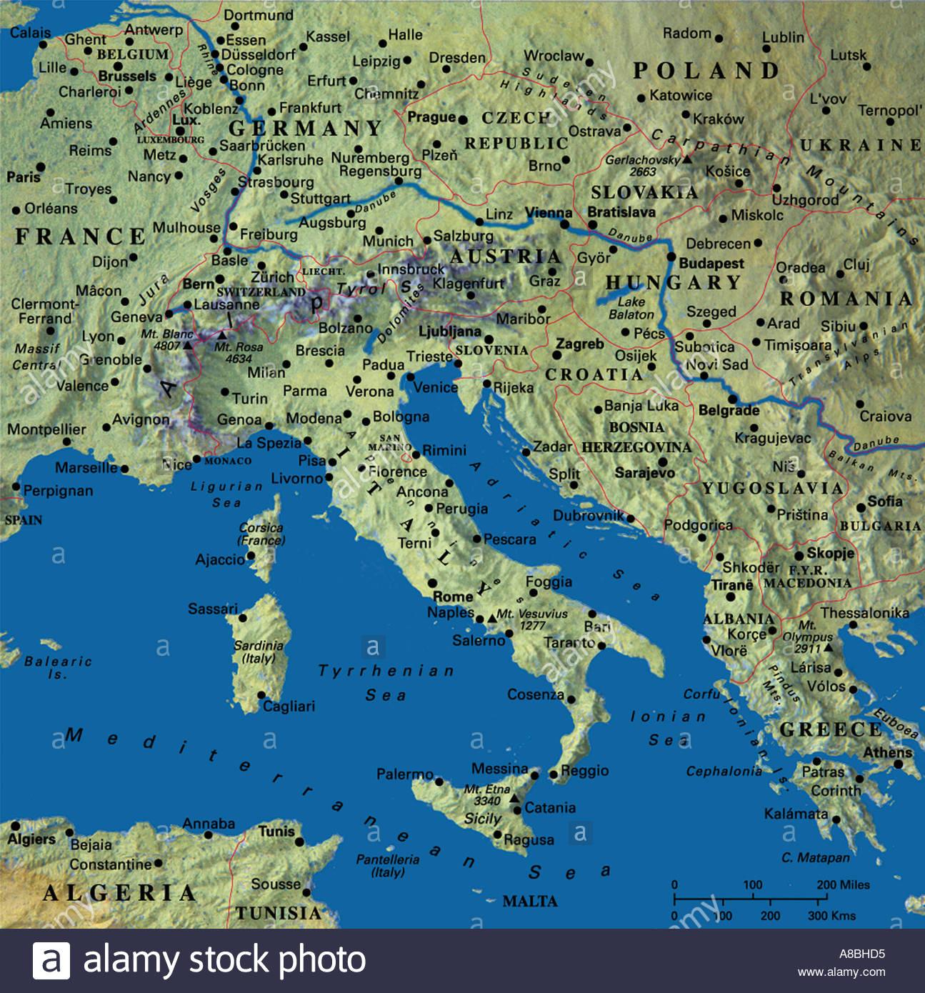 map maps Europe Italy Croatia Greece Stock Photo Royalty Free