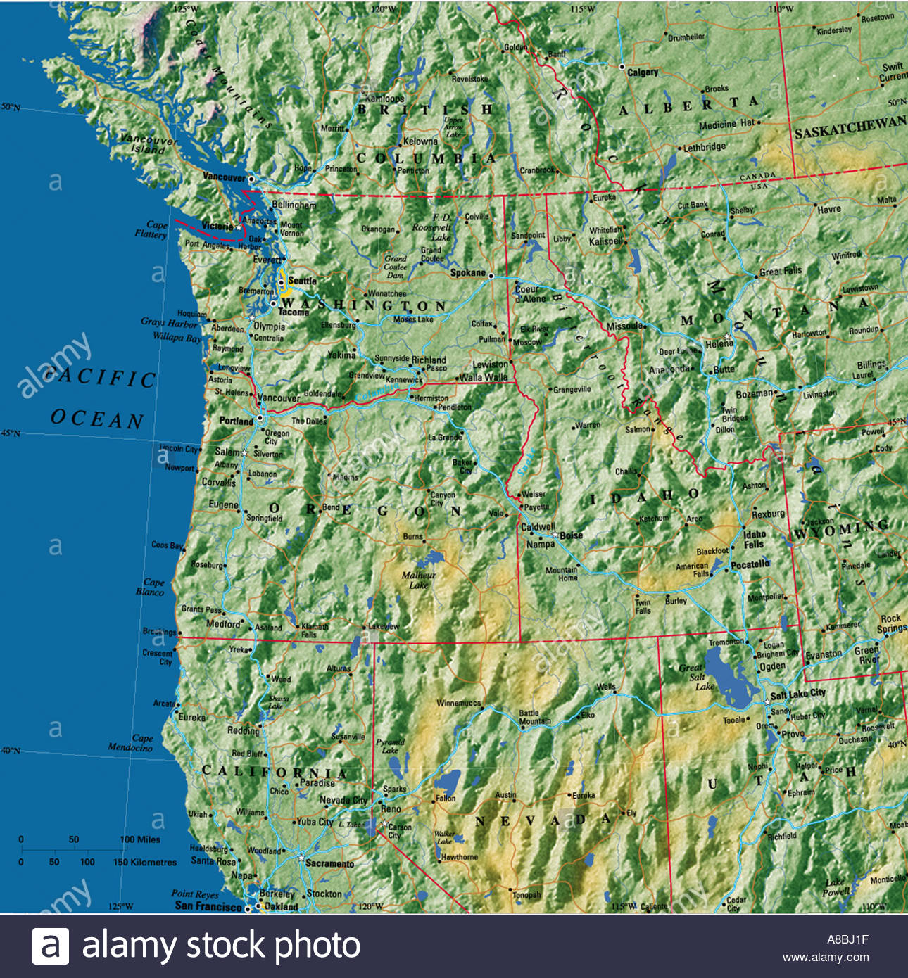 Map Maps USA California Oregon Washington State East Coast Stock - Oregon usa map