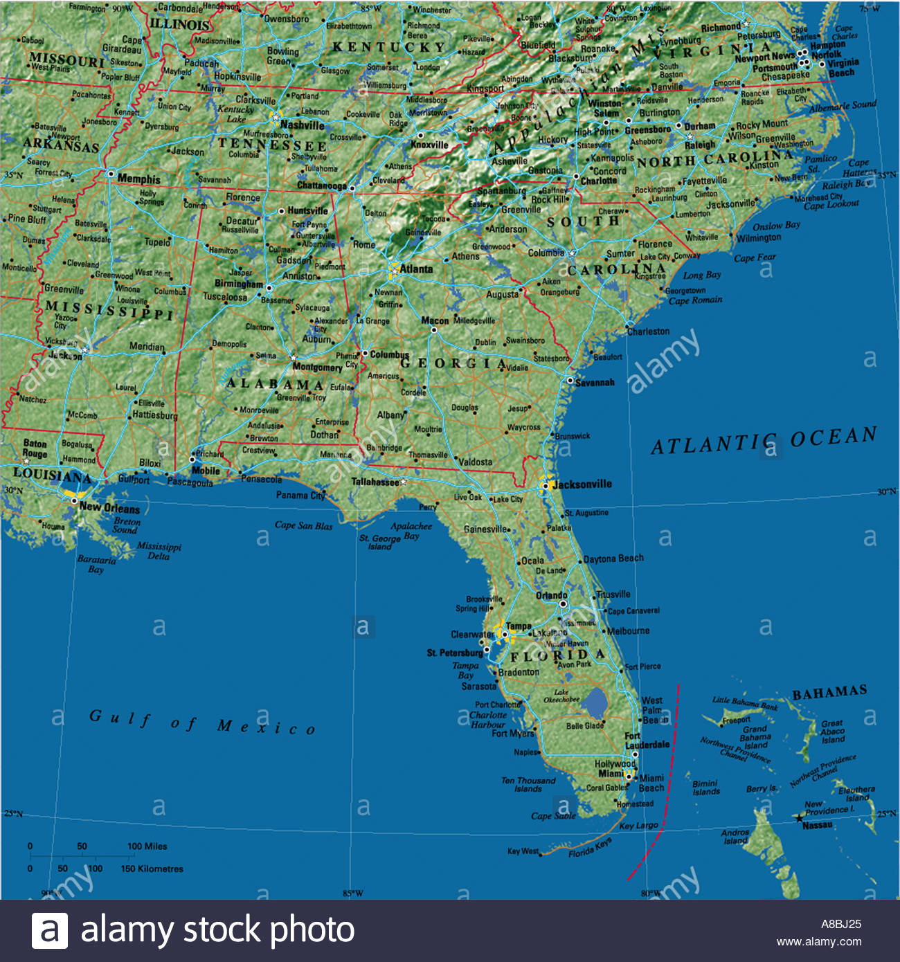 Map Maps USA Florida Caribbean Stock Photo Royalty Free Image - Map of usa and caribbean
