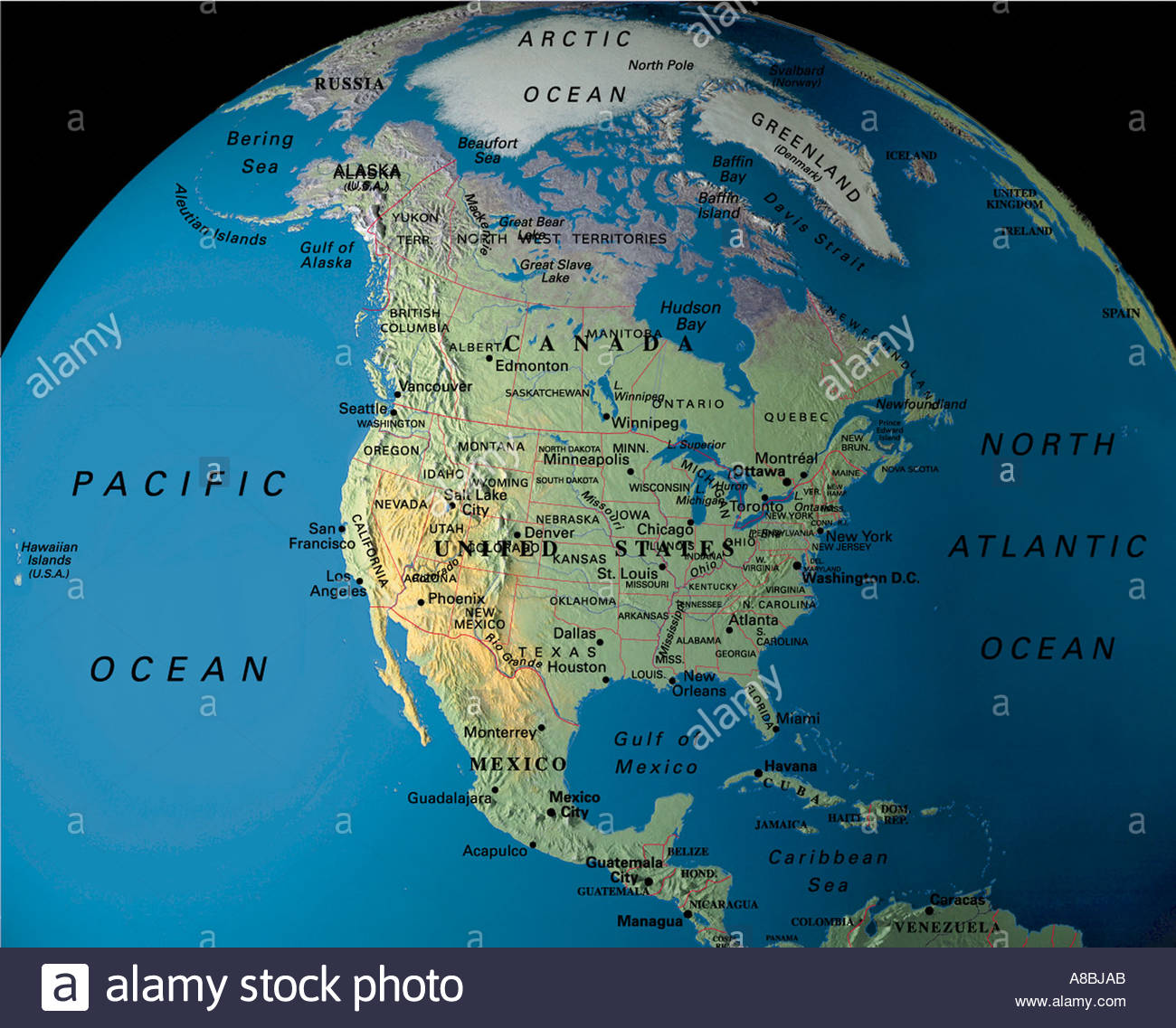 Globe North Amerika USA Canada Mexico Stock Photo Royalty Free - Globe of usa