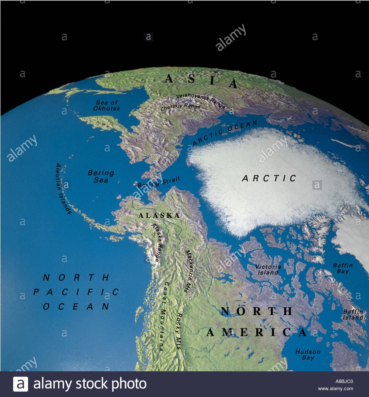 Globe Map Maps Arctic North Pole Alaska Sibiria Bering