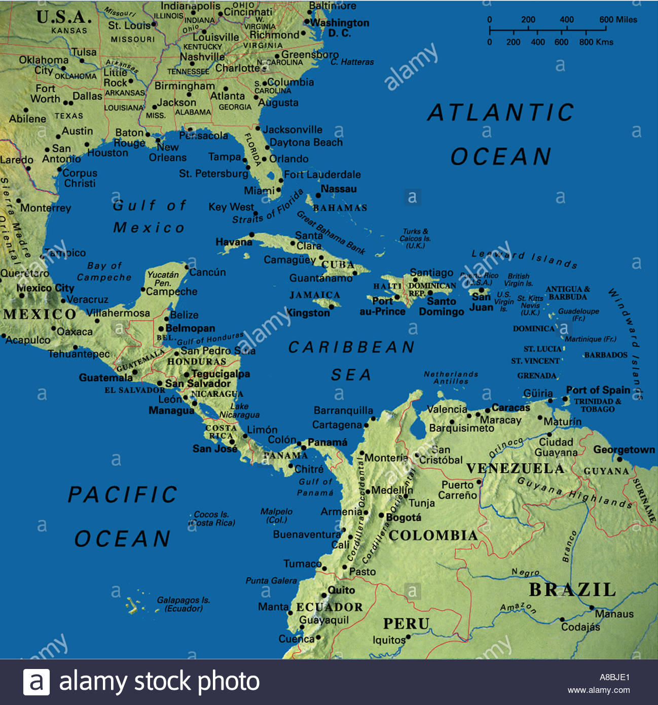 Map Maps USA Florida Canada Mexico Caribbean Cuba South America - Caribbean maps
