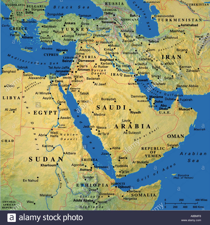 Map Maps Midlle East Turkey Georgia Uzbekistan Saudi Arabia Stock - Uzbekistan map