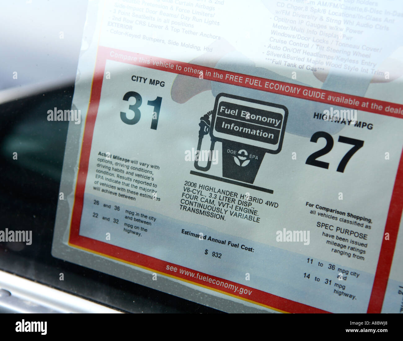 Stock photo window sticker on a 2006 toyota highlander hybrid suv showing gas mileage estimates