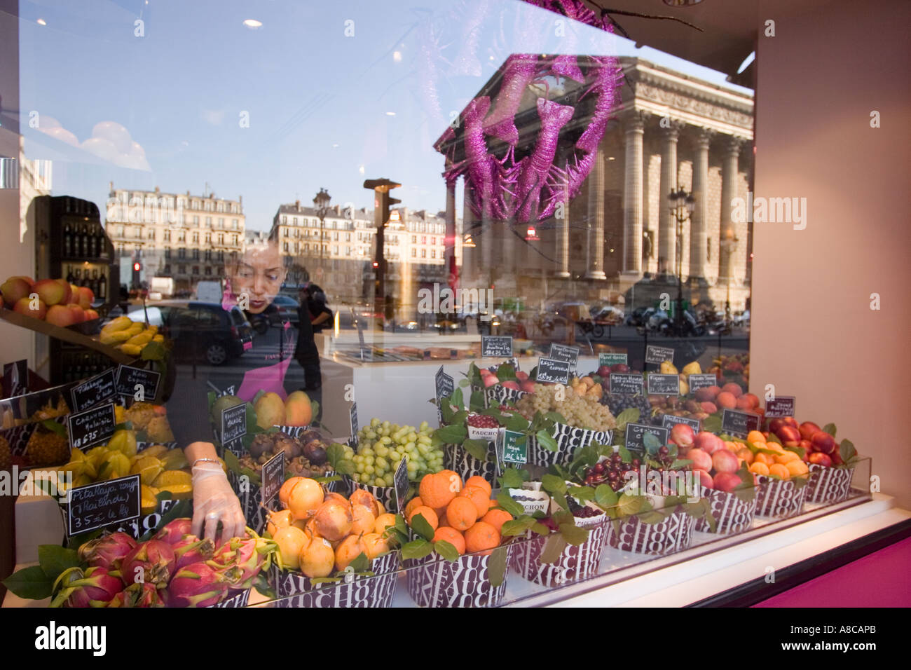 paris france place de la madeleine fauchon gourmet shop shop window stock photo royalty free. Black Bedroom Furniture Sets. Home Design Ideas