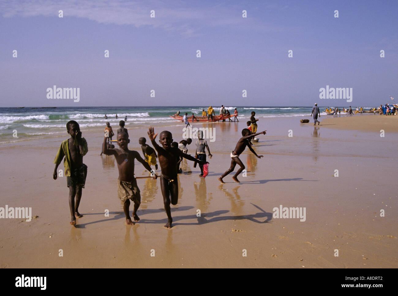 Kids Running On A Beach Kayar Cap Vert Province Senegal