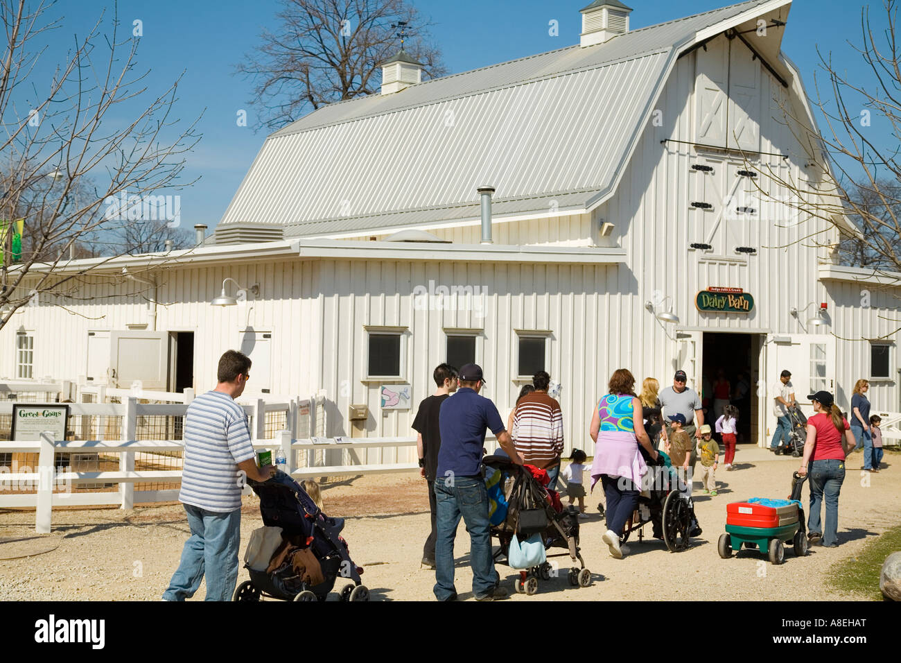 chicago illinois people walking white barn in farm in the