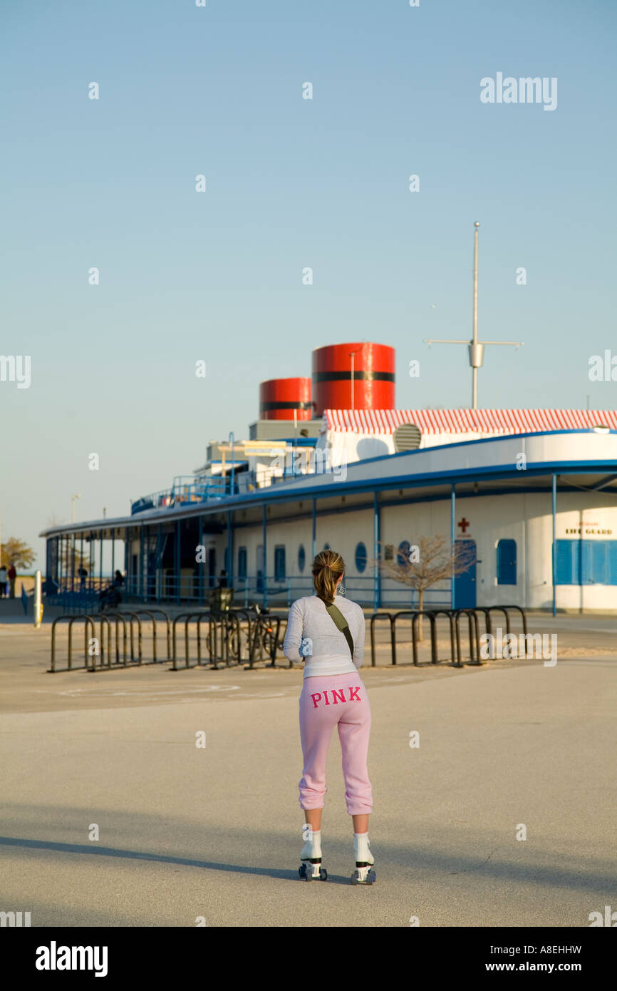 Exceptional North Avenue Beach House Part - 10: CHICAGO Illinois Woman Wearing Pink Sweatpants Roller Skate North Avenue  Beach House Lake Michigan Lakefront -