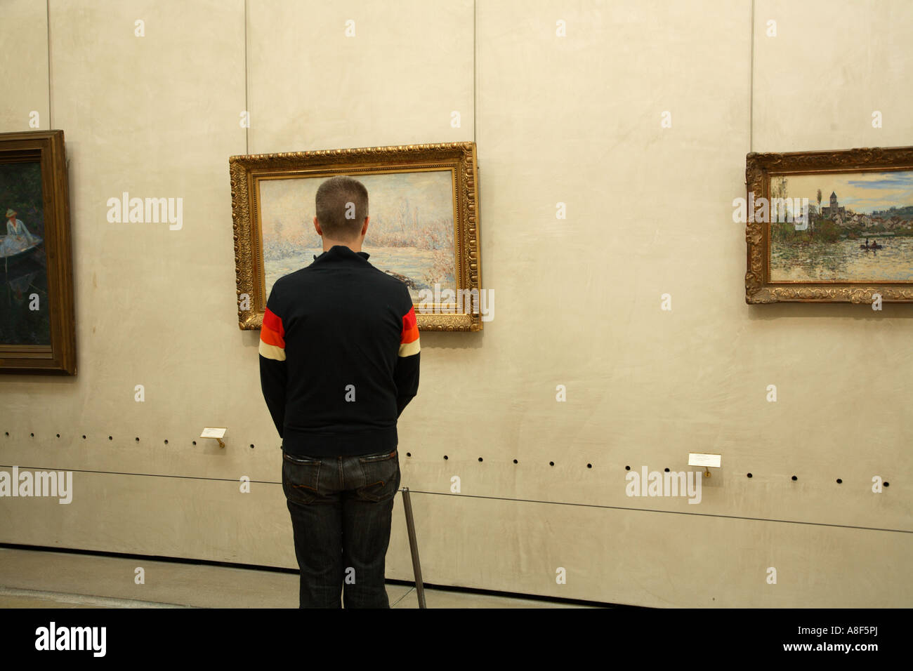 visitor looking at a painting inside Museum Orsay, Paris, France ...