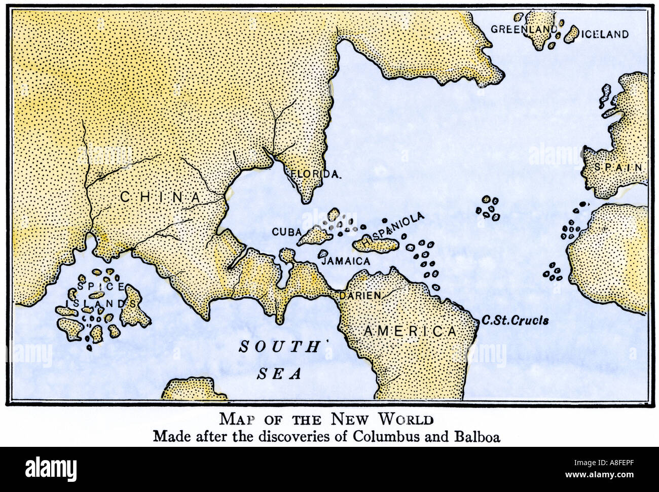 New world map showing south america attached to asia as assumed new world map showing south america attached to asia as assumed after the disoveries of columbus and balboa gumiabroncs Gallery