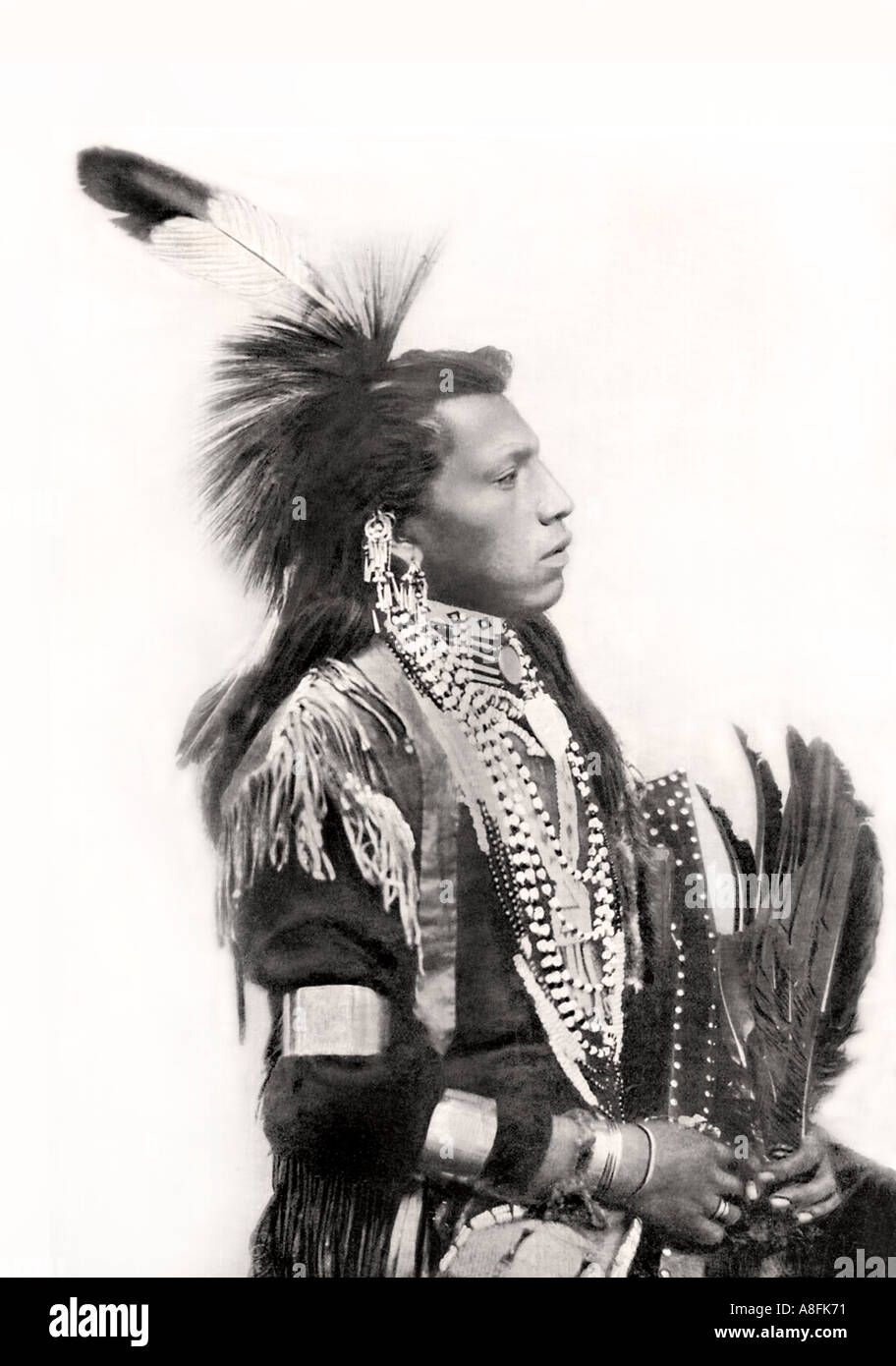 19th century portrait of a native american indian from old