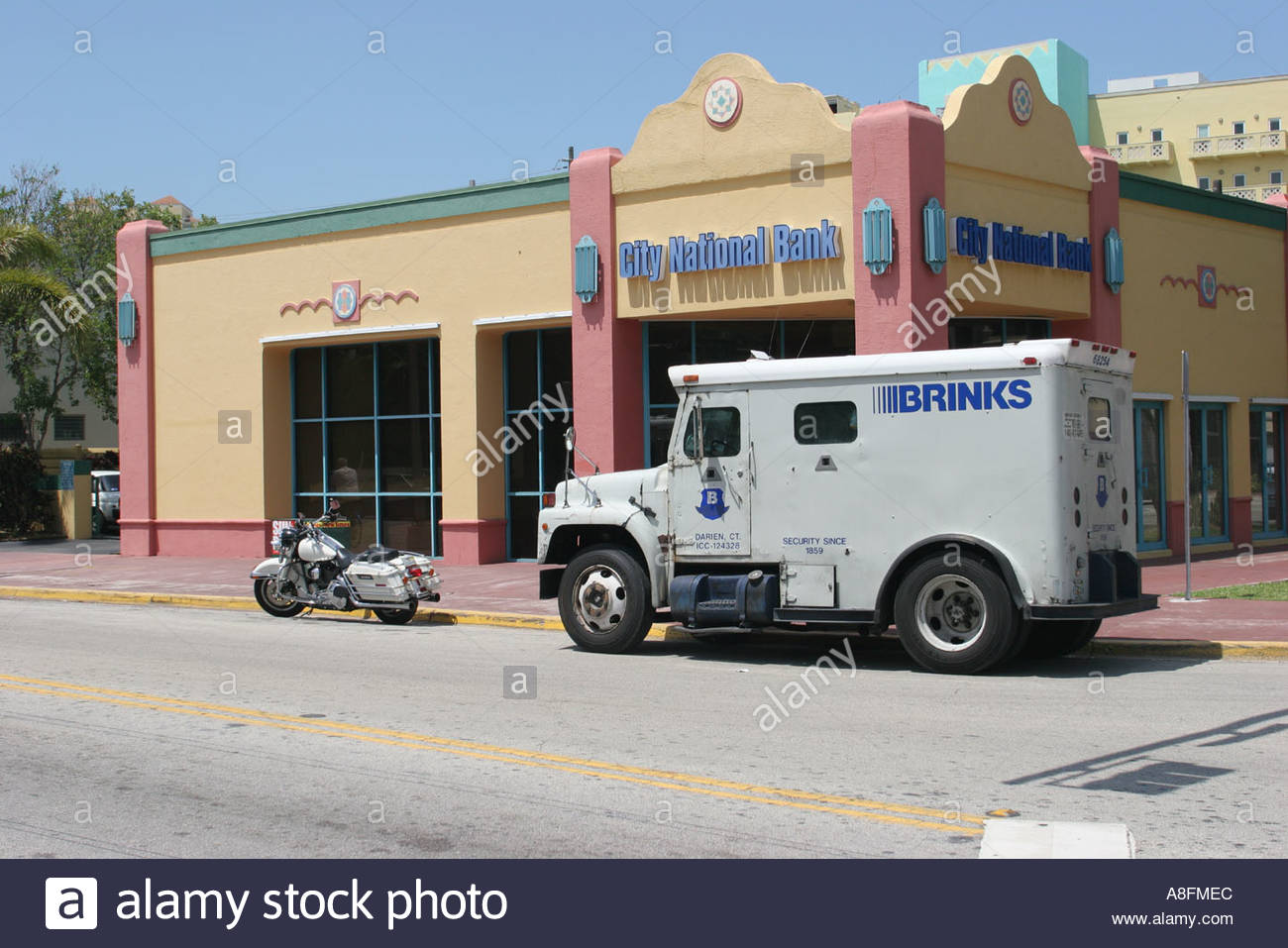Miami beach florida collins avenue brinks armored truck city national bank money security stock image