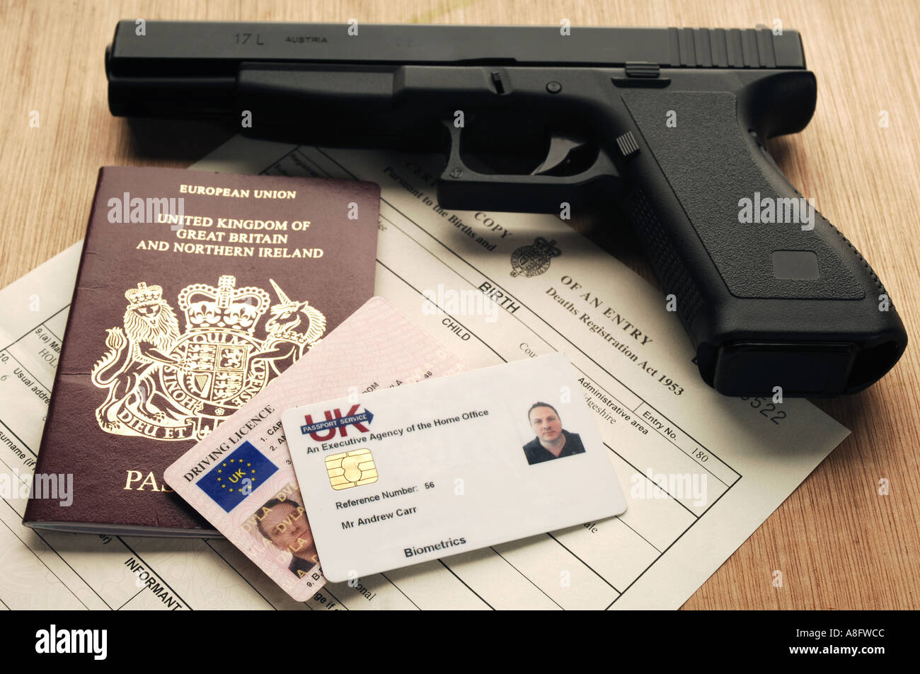 Identity documents including passport driving license and id card identity documents including passport driving license and id card birth certificate with a glock pistol 1betcityfo Image collections