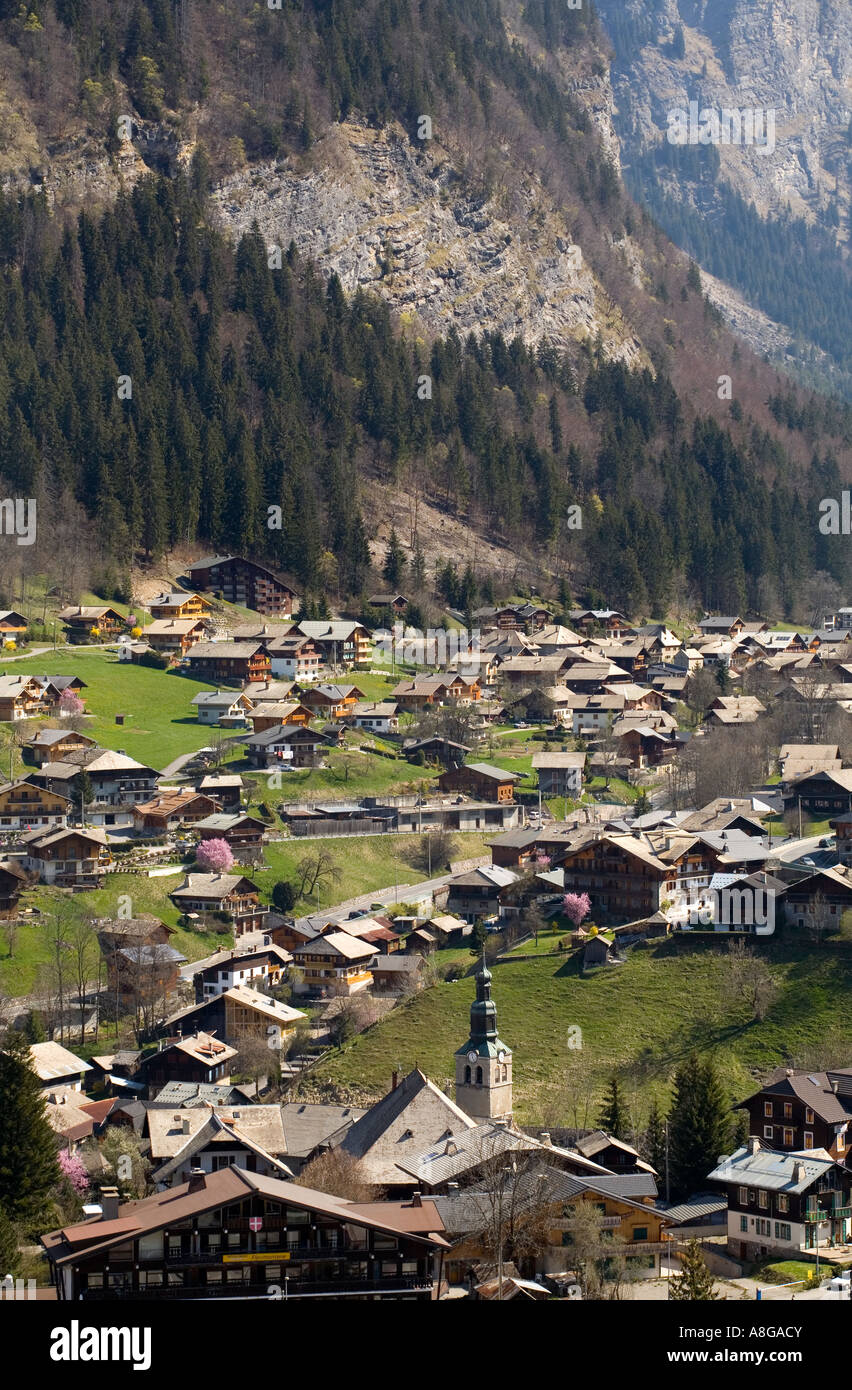 The French alp ski resort of MorzineAvoriaz during early spring