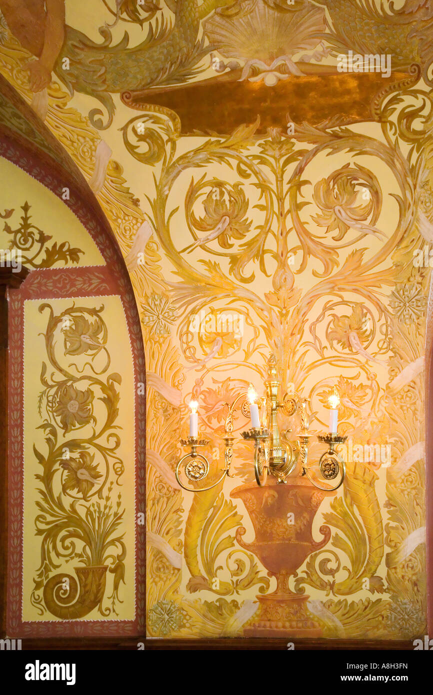 The dining hall at Flagler college showing the wall relief and Stock ...