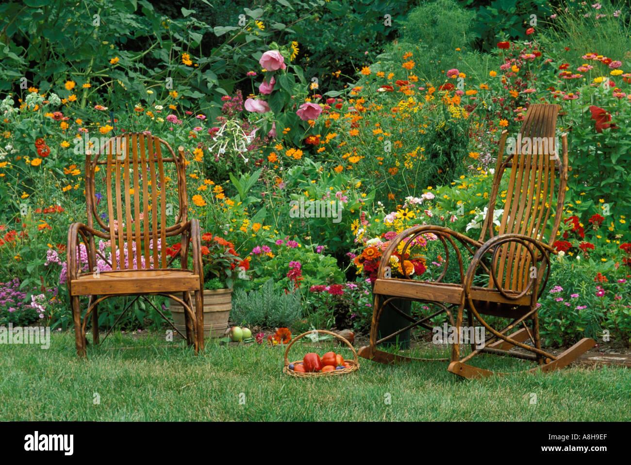 grandma and grandpa39s summer gaudy garden bentwood chairs