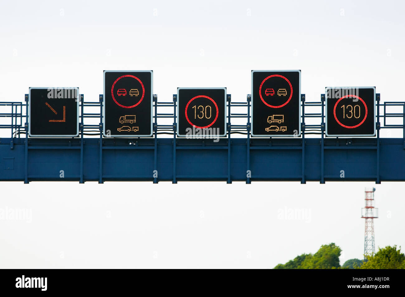German autobahn electronic overhead gantry speed limit signs
