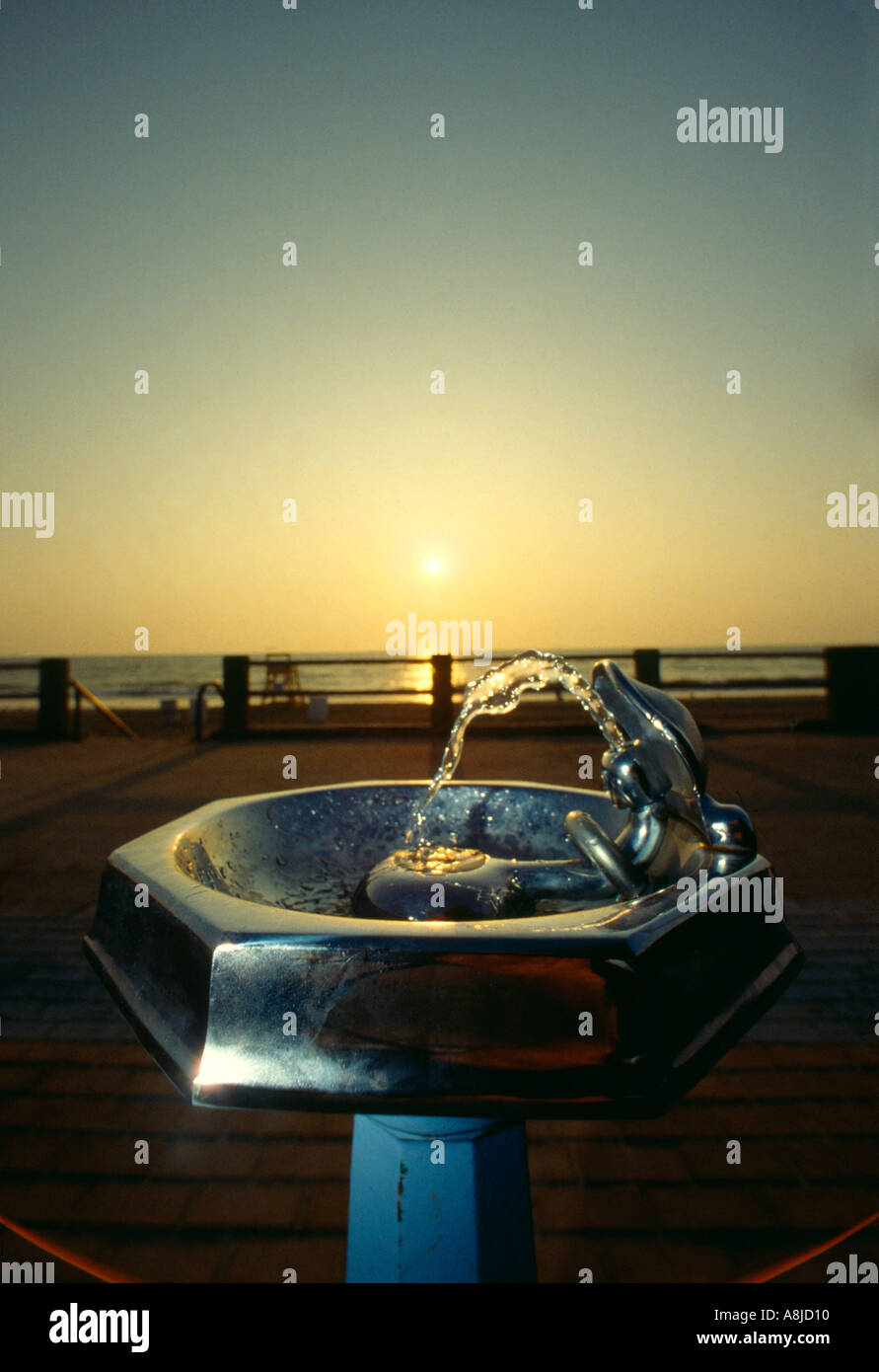 Water fountains virginia - Stock Photo Va Virginia Beach Oceanfront Water Fountain Backlit By Sunrise Frontlit By Strobe