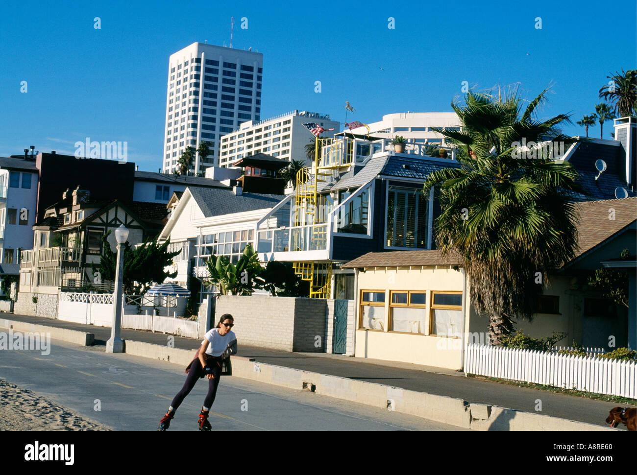 Roller skating los angeles - A Woman Roller Skating In Santa Monica Los Angeles California Usa