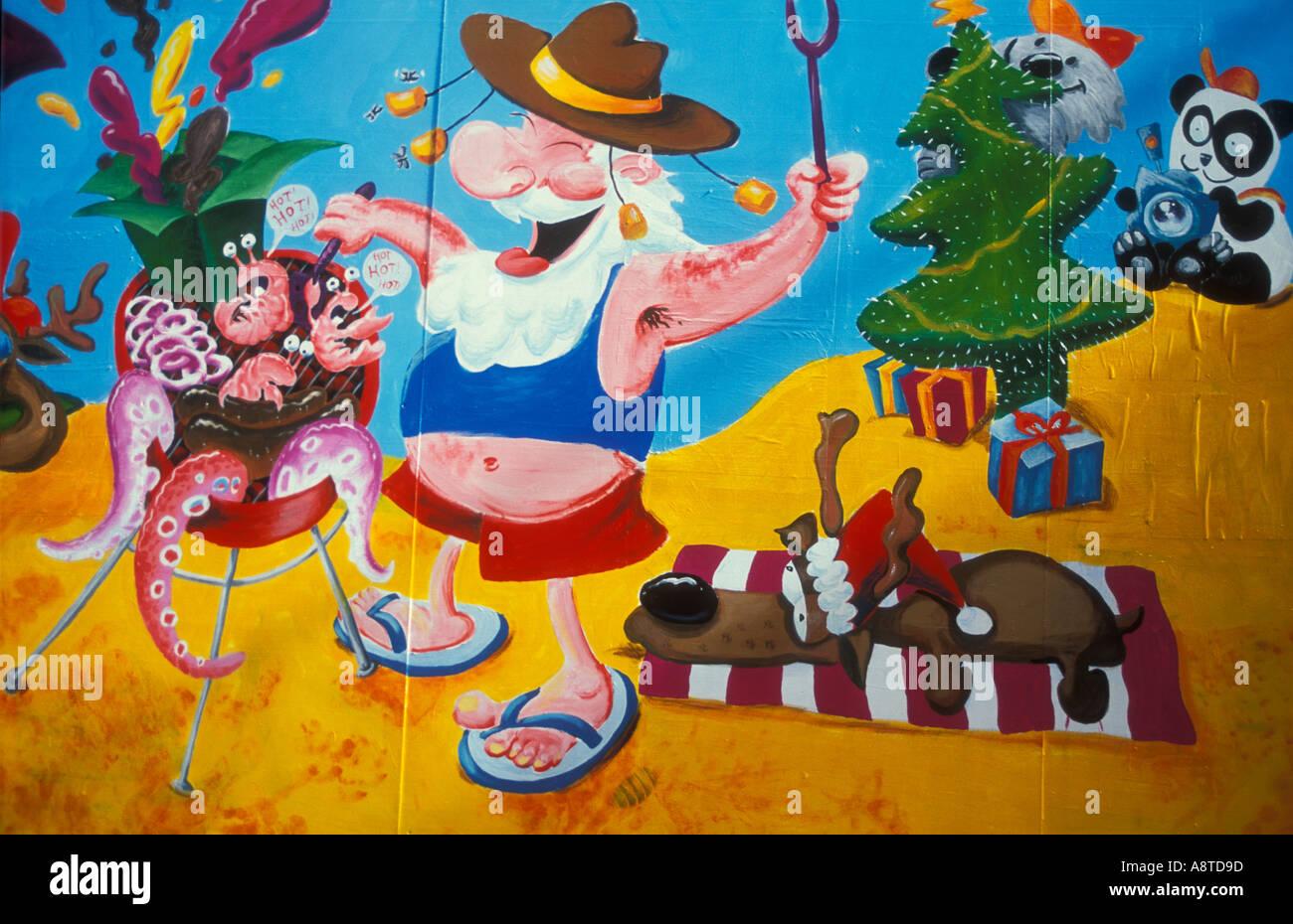 Australian christmas barbeque mural on a hoarding in for Australian mural