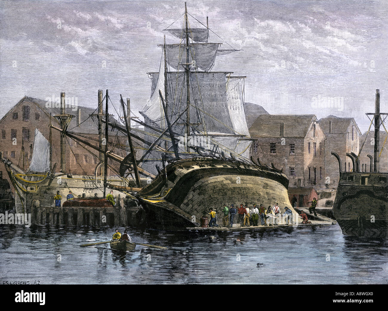 Whalers in action wood engraving published in 1855 stock illustration - Whaling Ship Hove Down For Hull Repairs In New Bedford Massachusetts 1800s Stock Image