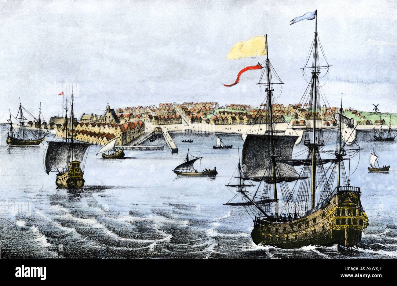 sailing ships arrving in dutch colony of new amsterdam in