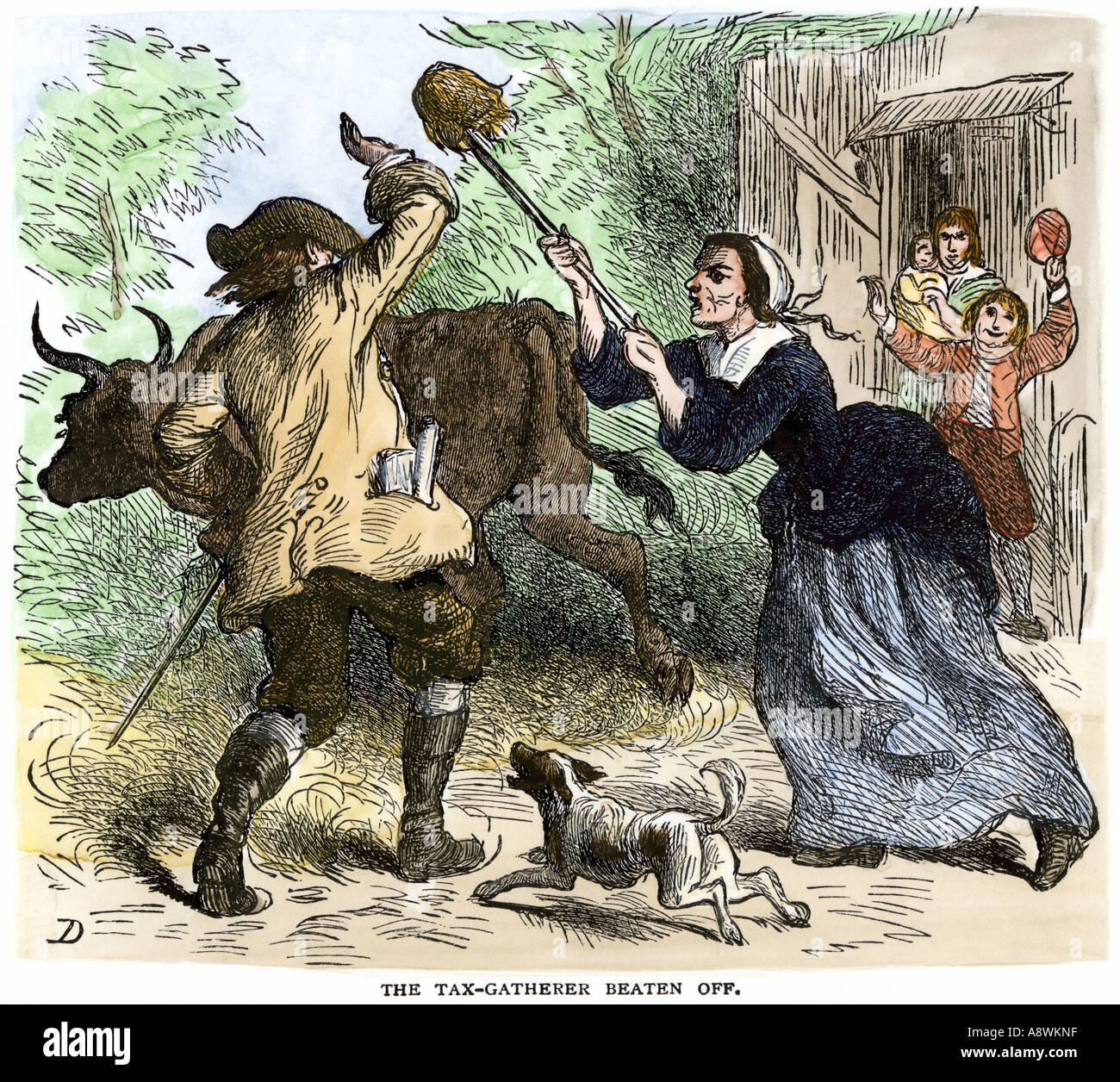 Marvelous photograph of Tax Collector Beaten Off By Carolina Colonists 1700s Stock Photo  with #837848 color and 1300x1256 pixels